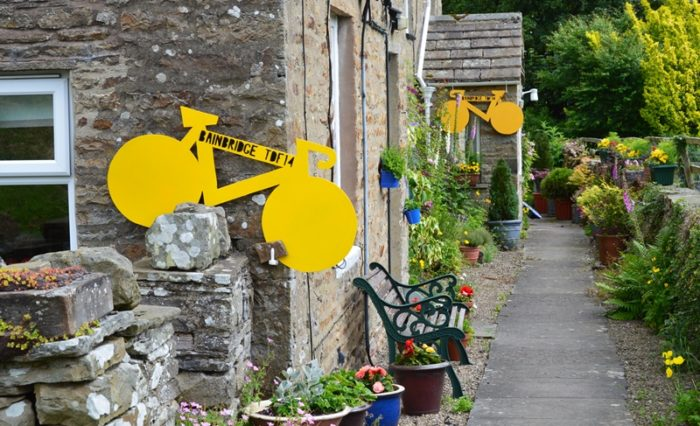 TDF yellow bikes decorations in Bainbridge, Yorkshire Dales