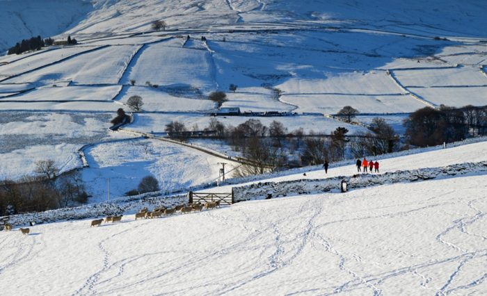 Holme Moss in the Peak District snow