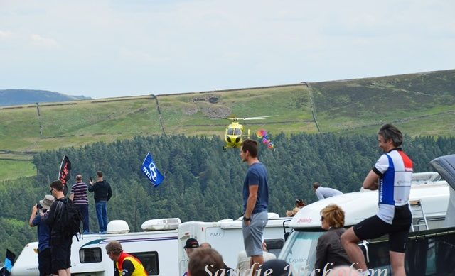 TDF helicopter over crowd during Yorkshire Grand Depart 2014
