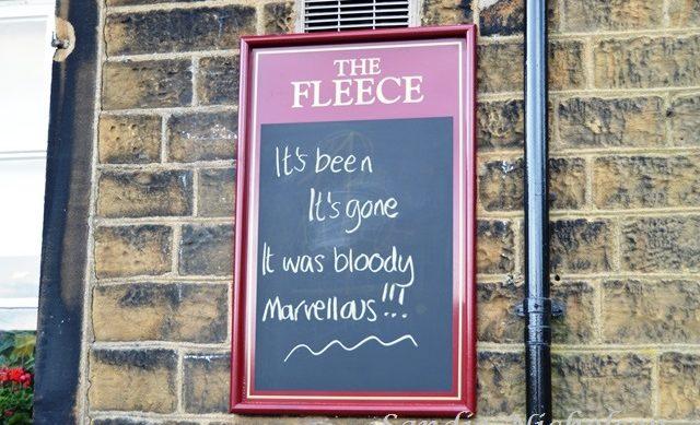 The Fleece Pub at Holme village sign afer Grand Depart