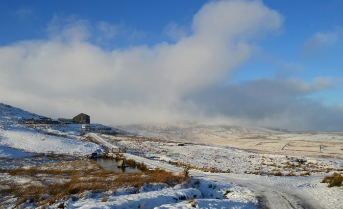 West Nab, Peak District in the mist and snow